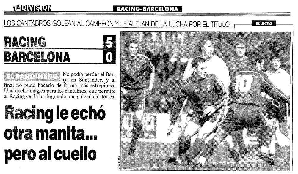 Racing 5 Barça 0