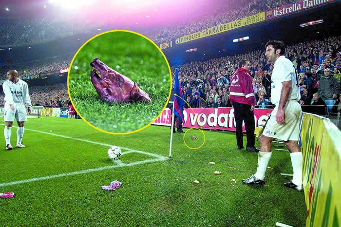 La cabeza de cochinillo que lanzaron a Luis Figo en el Camp Nou
